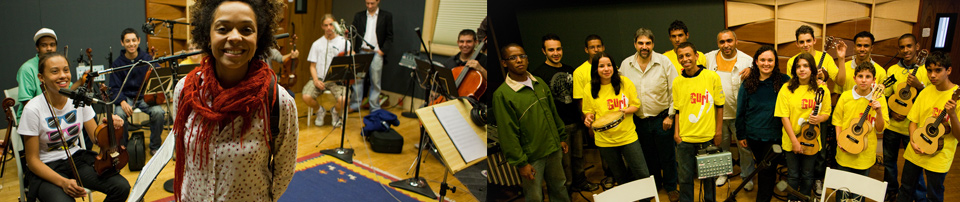 photo of Brazilian artists and musicians from the Guri Program in a recording studio