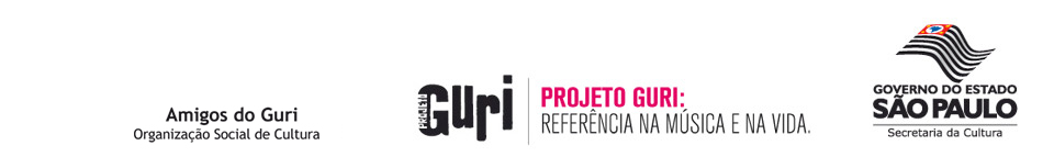 Slogan da instituição. Projeto Guri: Referência na Música e na Vida. Logo do Governo Federal do Brasil