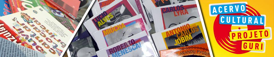 Imagem com capas de livros e logo criado para o Acervo do Projeto Guri