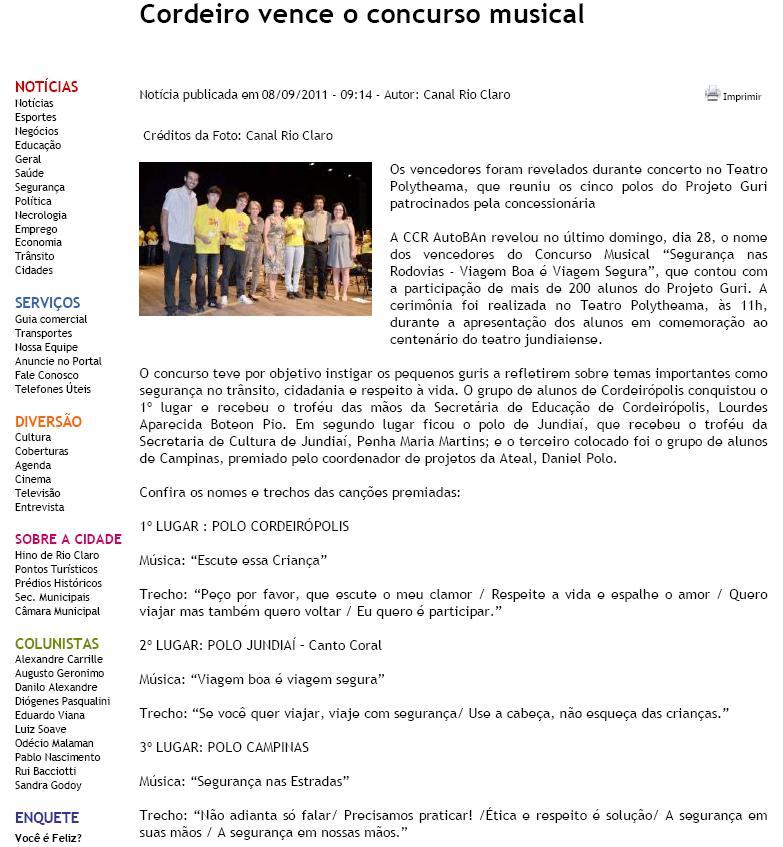 cordeiro vence concurso musical - 08.09.2011