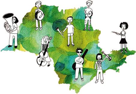 Desenho de um mapa do Estado de São Paulo com crianças e instrumentos