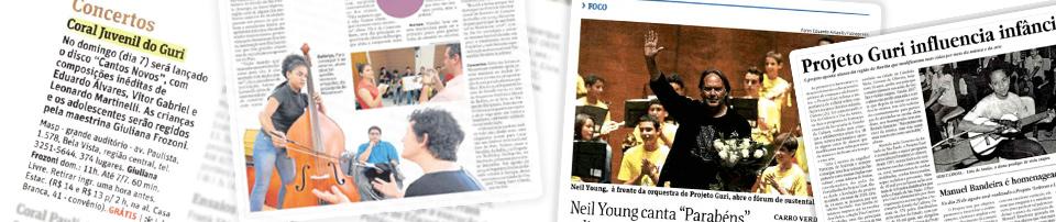 Imagem com trechos de jornais e revistas ilustrando as matérias sobre o Projeto Guri na mídia