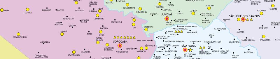Trecho do mapa do Estado de São Paulo mostrando a localização de alguns polos do Projeto Guri