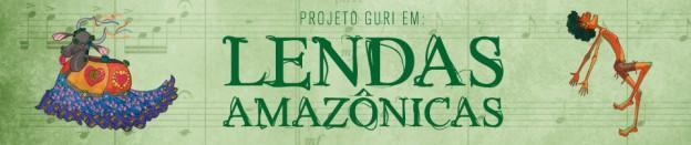 Imagem do material gráfico desenvolvido para o Espetáculo Lendas Amazônicas, com os personagens Boi Bumbá e Curupira