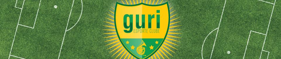 Imagem do material gráfico desenvolvido para a divulgação do Guri Esporte Clube, contendo o desenho de um campo de futebol e o logo do projeto no meio
