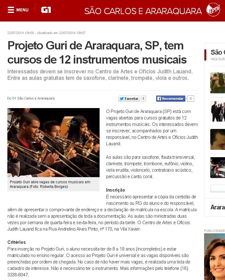 G1   Projeto Guri de Araraquara  SP  tem cursos de 12 instrumentos musicais   notícias em São Carlos e Região