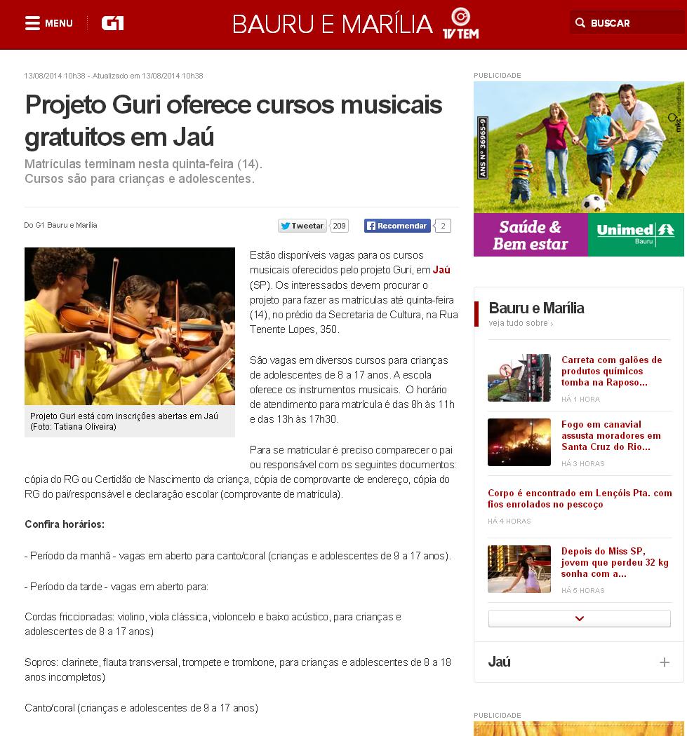 G1   Projeto Guri oferece cursos musicais gratuitos em Jaú   notícias em Bauru e Marília