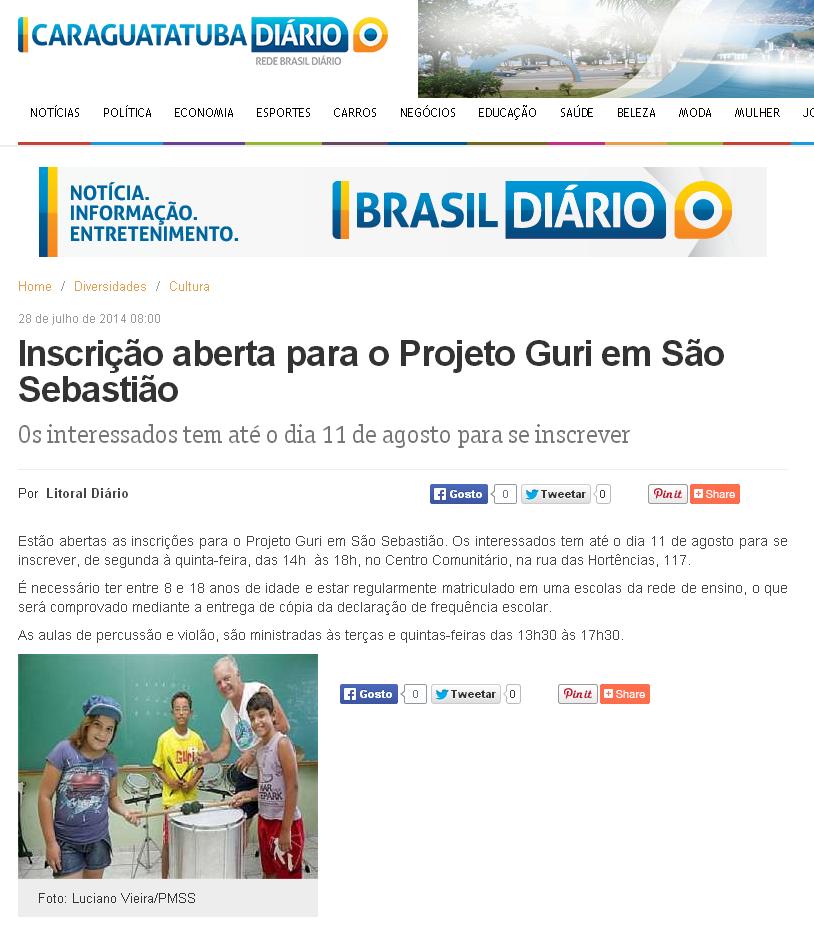 Inscrição aberta para o Projeto Guri em São Sebastião   Caraguatatuba Diário