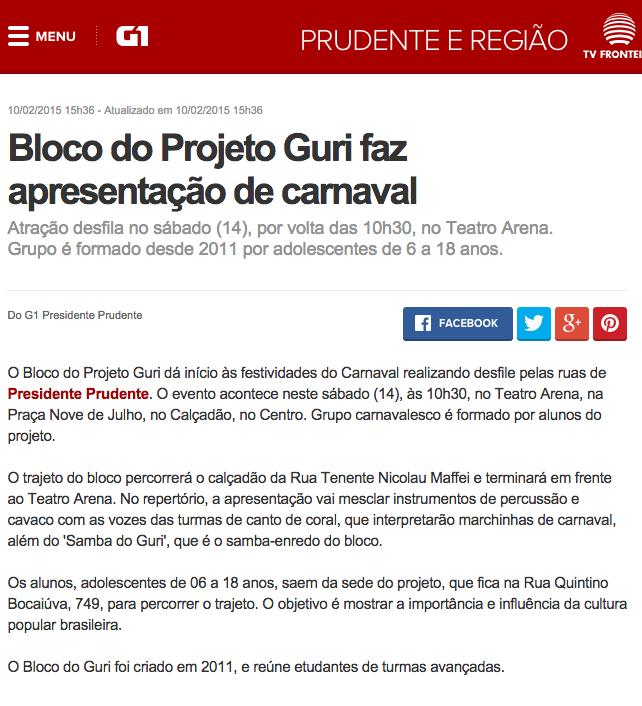 G1 - Bloco do Projeto Guri faz apresentação de carnaval - notícias em Presidente Prudente e Região