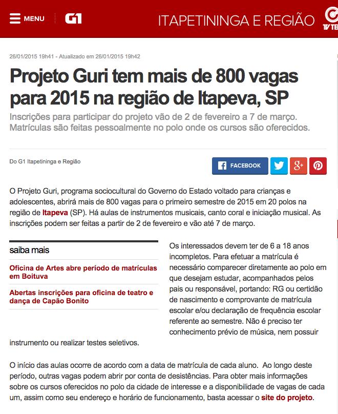 G1 - Projeto Guri tem mais de 800 vagas para 2015 na região de Itapeva, SP - notícias em Itapetininga e Região