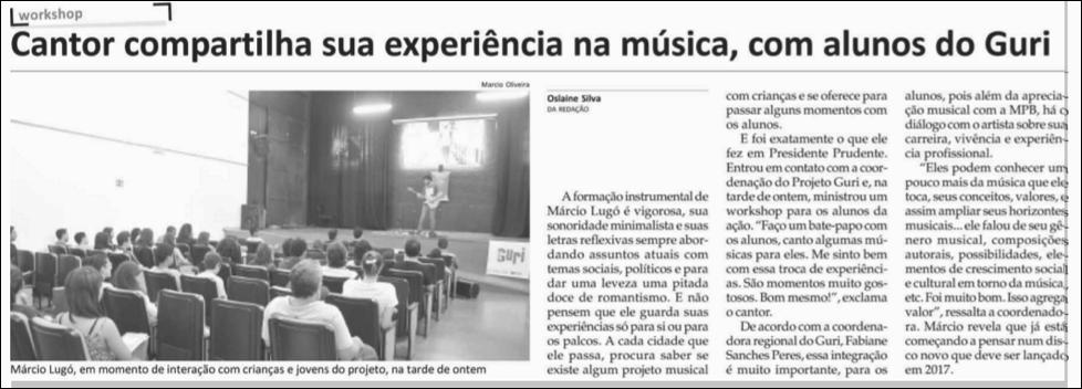 Cantor compartilha sua experiência na musica, com alunos do Guri