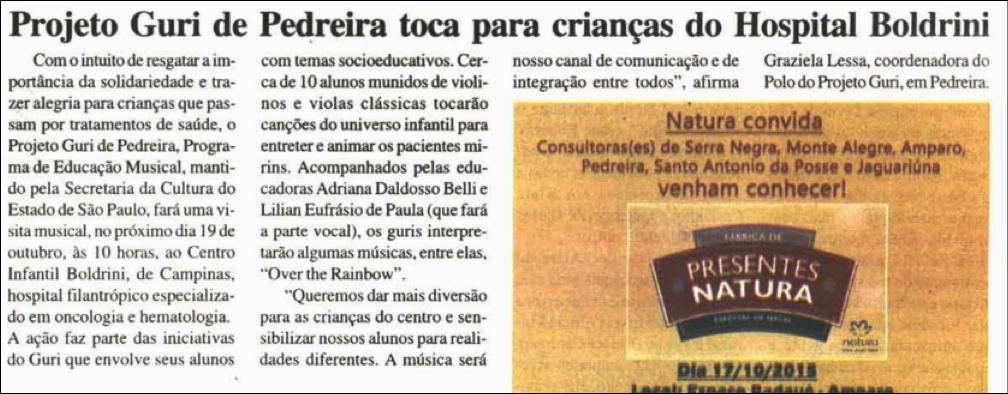 Projeto Guri de Pedreira toca para crianças do Hospital Boldrini