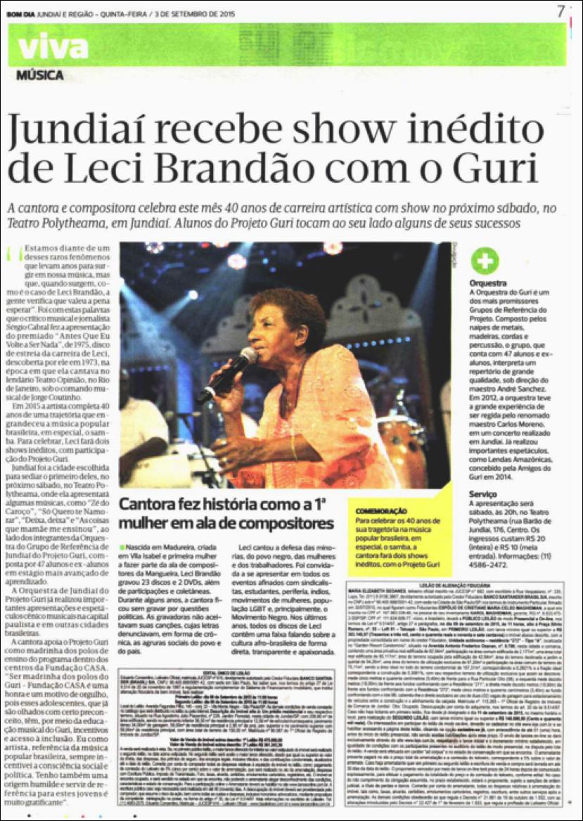 Jundiaí recebe show inédito de Leci Brandão com o Guri