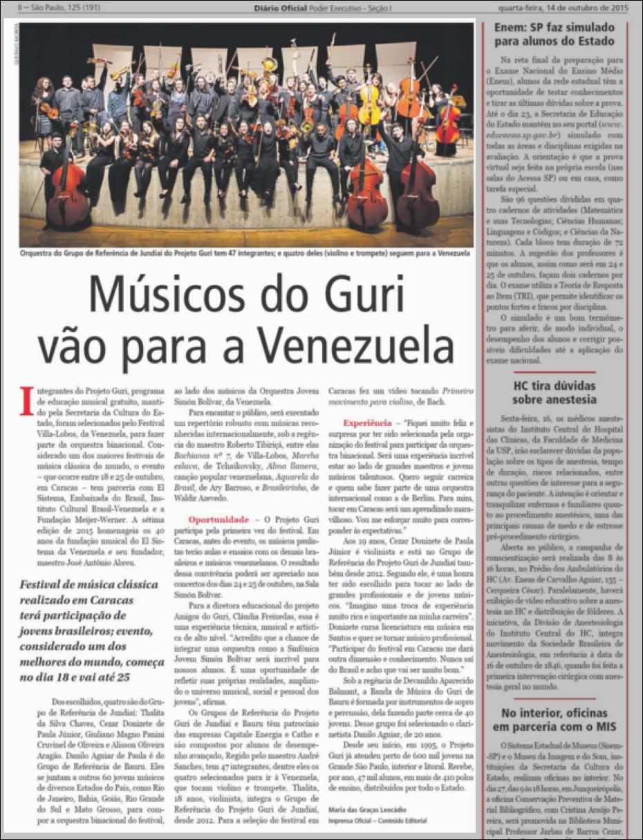 Músicos do Guri vão para a Venezuela