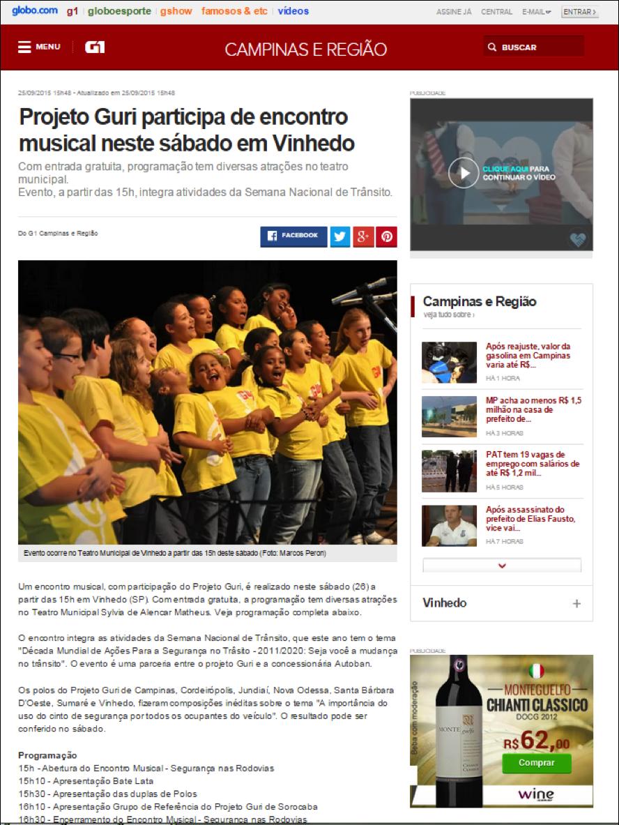 Projeto Guri participa de encontro musical neste Sábado em Vinhedo – (G1)