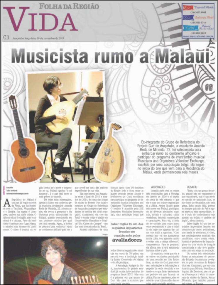 Musicista rumo a Malaui