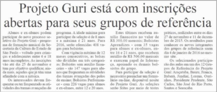 Projeto Guri está com inscrições abertas para seus grupos de referência