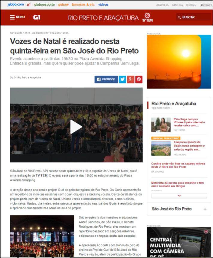 Vozes de Natal é realizado nesta quinta-feira em São José do Rio Preto