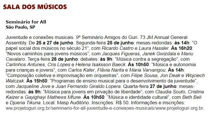 Revista concerto - sala dos músicos