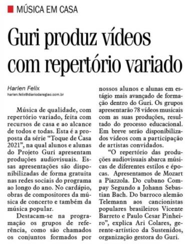 Guri produz vídeo com repertório variado